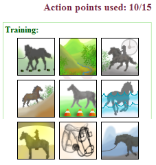 actions and action points on a tamed horse's page